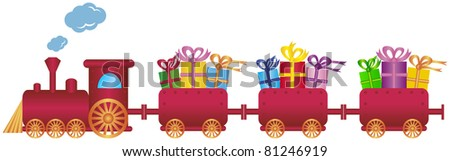 cute red train with gifts,vector - stock vector