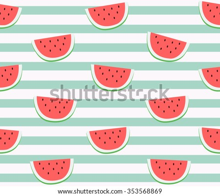 Cute red watermelon slice design on striped blue background seamless pattern wallpaper backdrop. Vector art