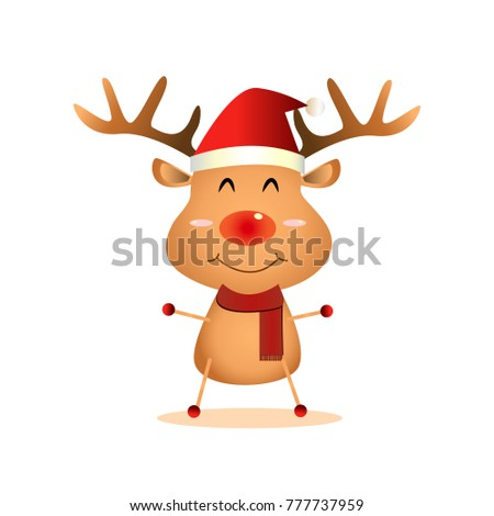Cute reindeer.Merry Christmas and Happy New Year.