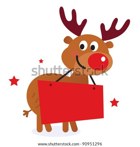 Cute reindeer with christmas banner isolated on white - stock vector