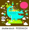 cute reptile, animals ,chameleon collection - stock vector