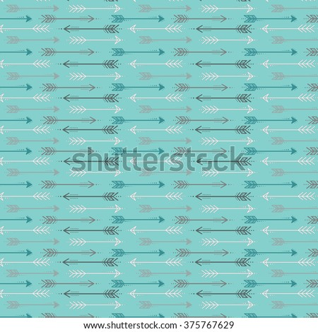 Cute retro arrow seamless pattern, grey, teal and white arrows on a blue background. - stock vector