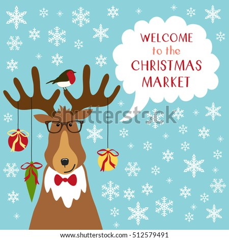 Cute Retro Banner With Funny Cartoon Character Of Deer With Speech Bubble  And Quote Welcome To