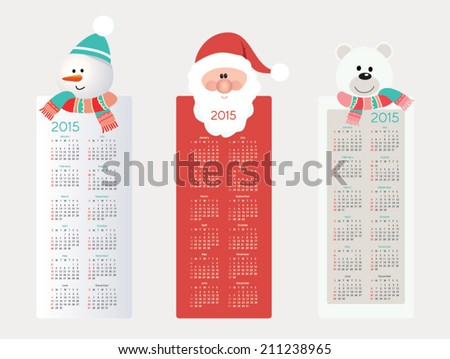 Cute, retro calendar on 2015 year. Vector illustration - stock vector