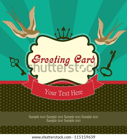cute retro card with swallow. vector illustration - stock vector