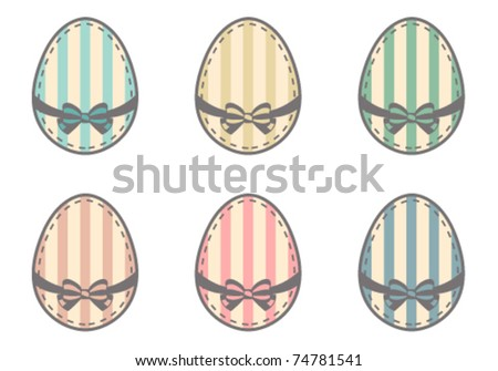 Cute retro easter eggs set - stock vector