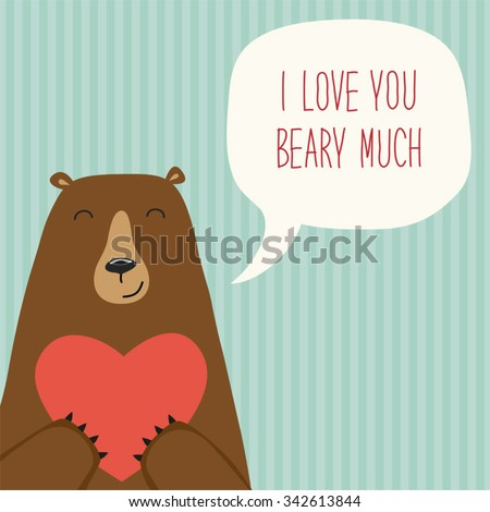 Cute retro hand drawn valentines day stock photo photo vector cute retro hand drawn valentines day card as funny bear with heart and speech bubble with voltagebd Image collections