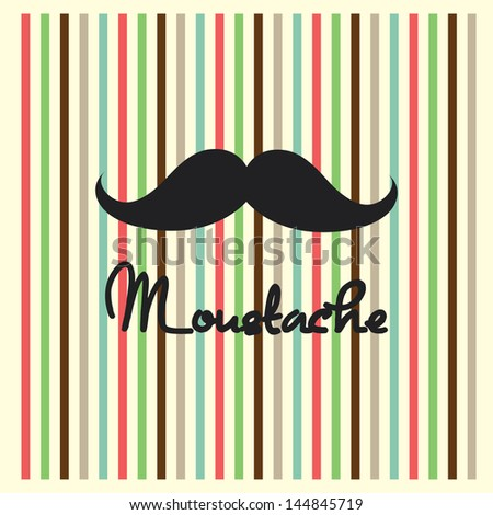 cute retro moustache - stock vector