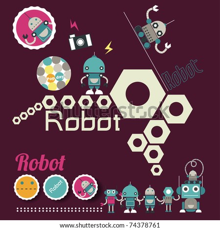 cute retro robot toy layout - stock vector