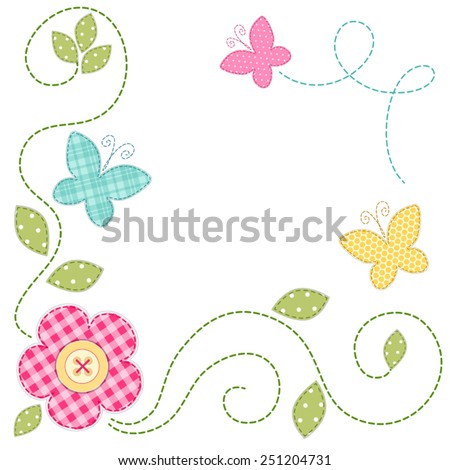 Cute retro spring card as patch fabric applique of flowers and butterflies - stock vector