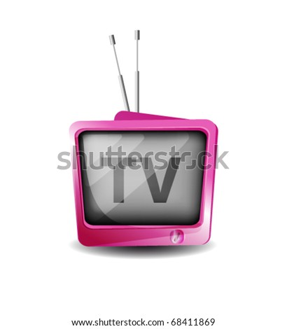Cute retro tv vector - stock vector
