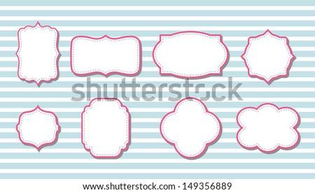 cute retro vintage pink frames - stock vector
