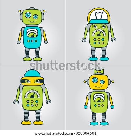 Cute Robot Cartoon Character educational flat icon template. School, after-school kids' activities, technology education club concept. Sample text. Layered, editable