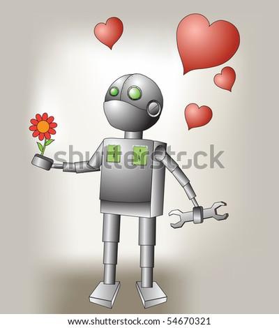 cute robot  falls in love - stock vector