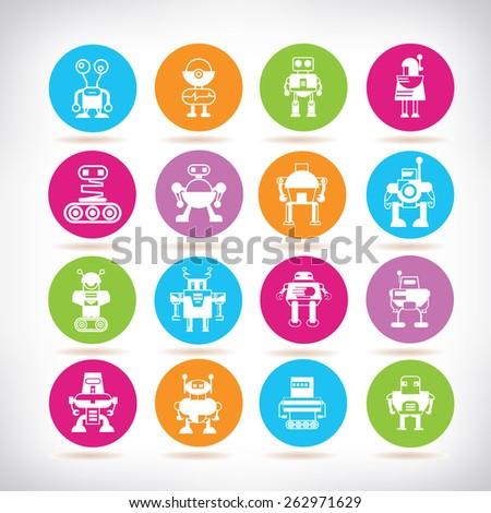 cute robot icons - stock vector