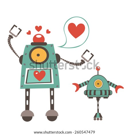 Cute robots in love couple. Colorful vector illustration - stock vector