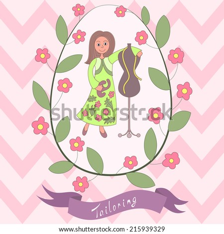 Cute romantic card with happy cartoon seamstress. Needlewoman and tailoring mannequin and floral wreath and banner. Floral vintage design - stock vector