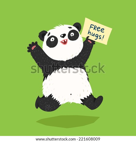 """Cute running panda with """"Free Hugs"""" banner or place for other text. Colorful vector illustration in flat style - stock vector"""