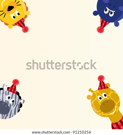 Cute safari animals retro party banner with blank space - stock vector