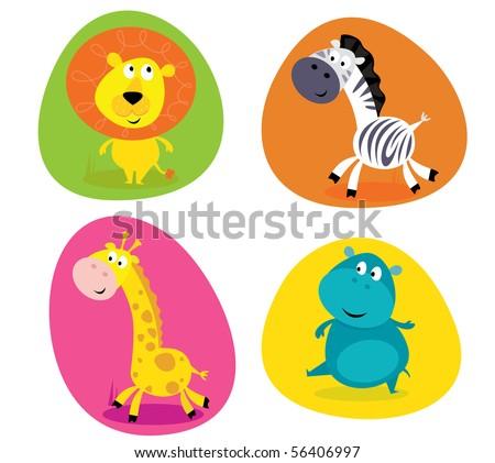 Cute safari animals set - lion, zebra, giraffe and hippo Vector Illustration of four cute wild animals buttons - lion, zebra, giraffe and hippo - stock vector