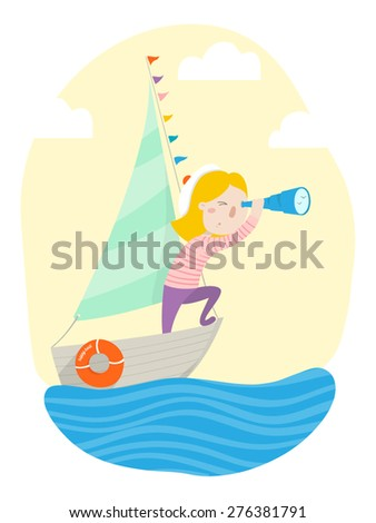 Cute sailor girl floats on small boat. Vector illustration.