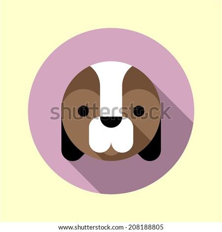 Cute Saint Bernard puppy icon. Flat long shadow design. Animal icons series. - stock vector