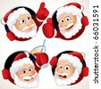 Cute Santa Claus character emotion and gestures - funny vector clip art for your label, sticker or avatar - stock photo
