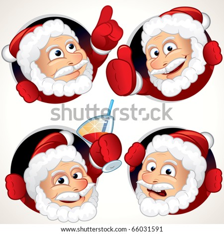 Cute Santa Claus character emotion and gestures - funny vector clip art for your label, sticker or avatar - stock vector
