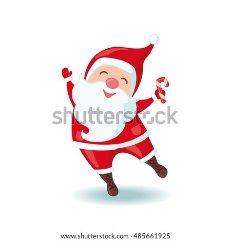Cute Santa Claus holding Christmas candy in flat style isolated on white background. Vector illustration