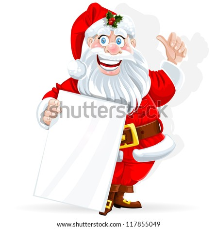 Cute Santa Claus holds banner for text isolated on white background - stock vector