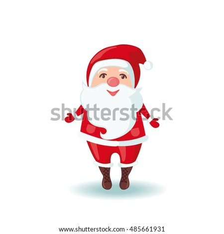 Cute Santa Claus in flat style isolated on white background. Vector illustration