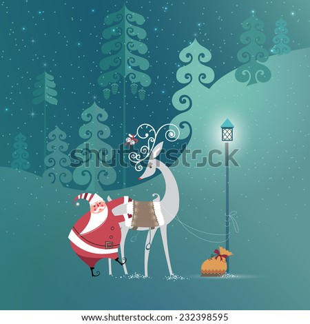 Cute Santa Claus is getting ready to ride reindeer to deliver Christmas gifts. Seasons Greetings and Happy Holidays  concept. Vector EPS 10 illustration.  - stock vector