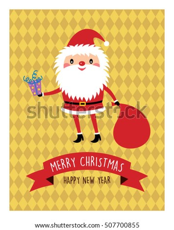 cute santa claus merry christmas greeting card vector illustration
