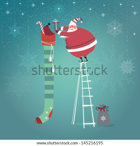 Cute Santa Claus on ladder putting gifts into extra long Christmas stocking. Vector EPS 10 illustration.   - stock vector