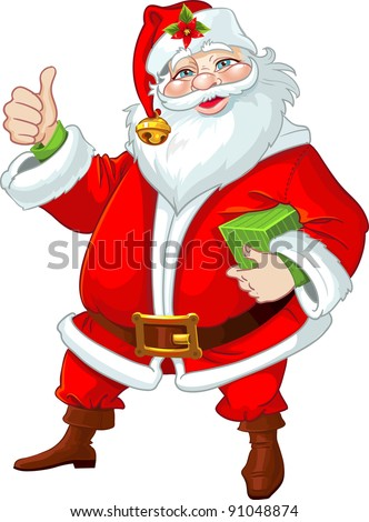 Cute Santa Claus with gift - stock vector