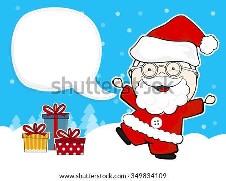 cute santa claus with gift boxes and blank bubble text on winter background