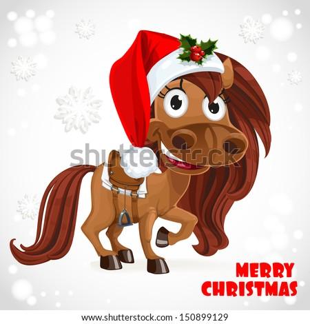 Cute Santa Horse on Christmas card - stock vector