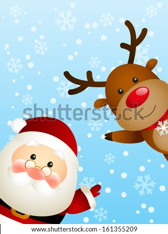 Cute Santa with funny deer - stock vector