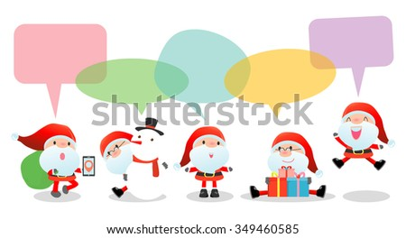Cute santa with speech bubbles on white background, stylish children Santa claus Costumes with speech bubble, santa  talking with speech balloon. happy new year Vector Illustration, Merry Christmas - stock vector