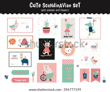 Cute scandinavian set of greeting cards, gift tags, stickers and labels templates with funny animals and flowers in vector. Holiday spring and summer modern concept with spring graphic design elements - stock vector