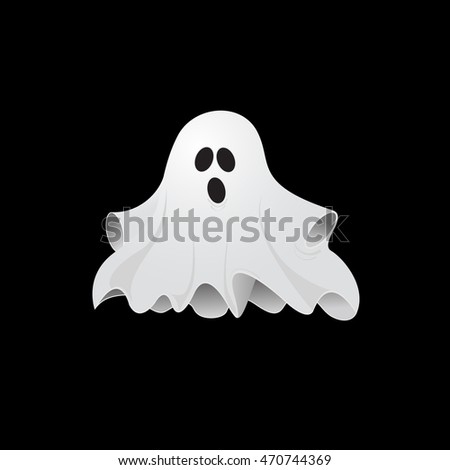 Cute, scary ghost ready for Halloween party vector illustration
