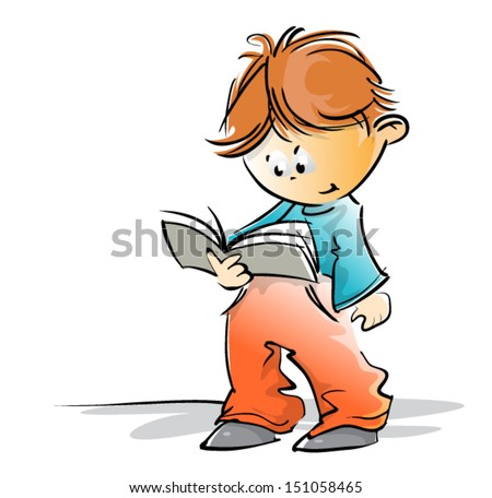 cute school boy reading a book, freehand loose style, vector - stock vector