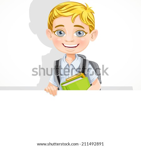 Cute school boy with textbooks and backpack hold a big banner - stock vector