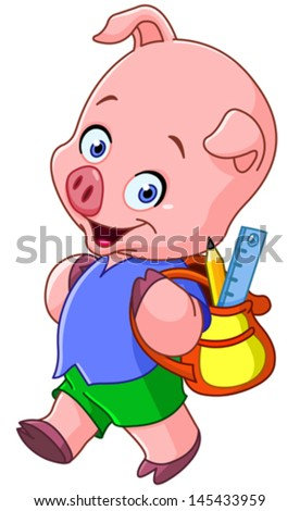 Cute school pig walking with a backpack - stock vector