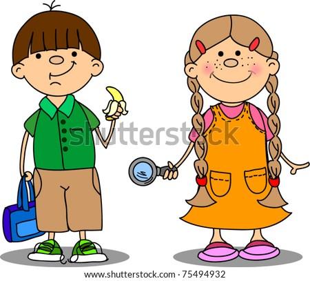 cute schoolboys and schoolgirls - stock vector