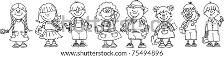 cute schoolboys and schoolgirls, black and white coloring - stock vector
