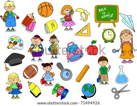 cute schoolboys and schoolgirls, School elements, - stock vector