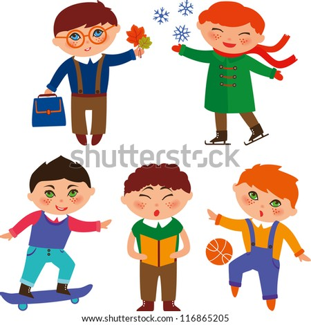 Cute schoolboys skating, playing with the ball, reading, singing, skateboarding and studying - stock vector