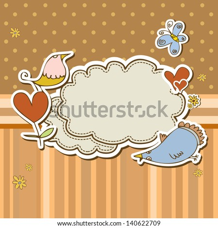 Cute scrap set with birds and butterfly - stock vector