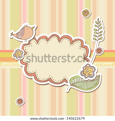 Cute scrap set with flowers and bird - stock vector